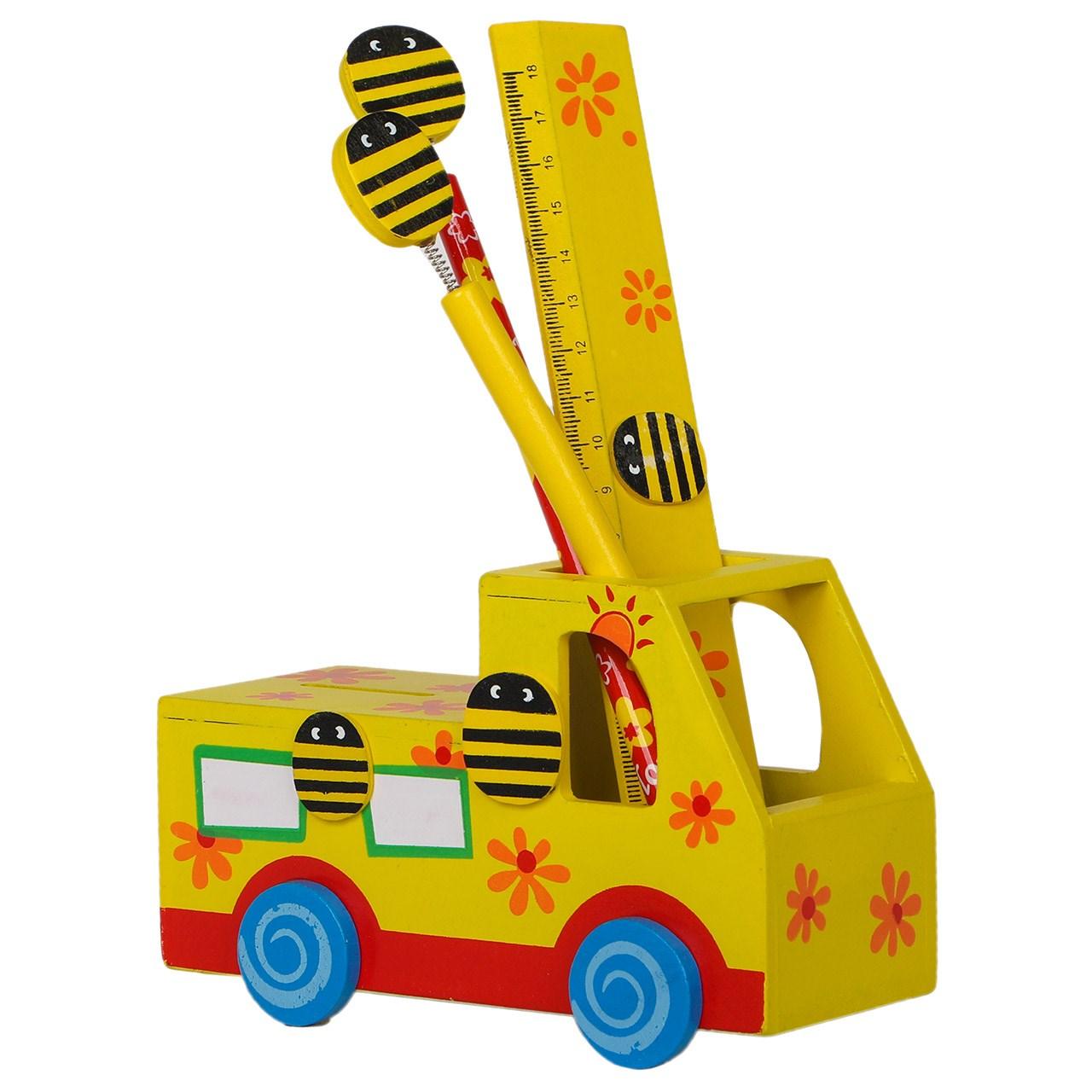 جامدادی خانواده باهوش من مدل ماشین و  زنبور چوبی با ابزار