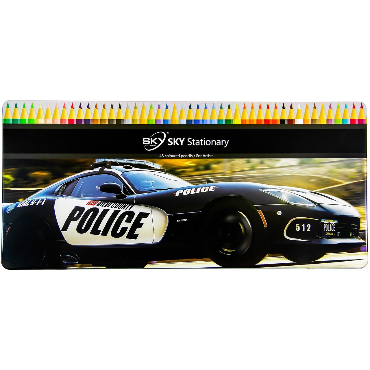 مداد رنگی 48 رنگ اسکای طرح ماشین پلیس