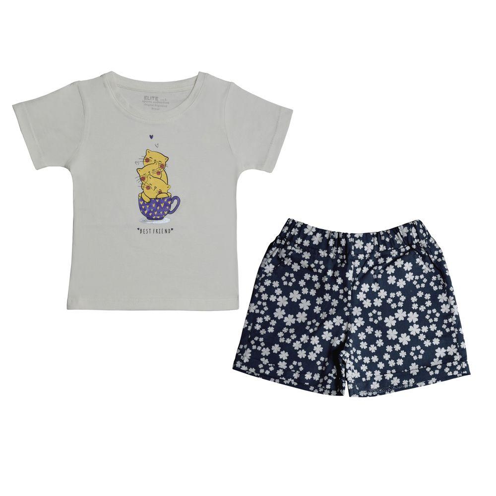 ست تي شرت و شلوارك دخترانه اليت مدل 1-661