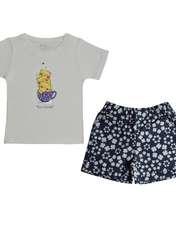 ست تي شرت و شلوارك دخترانه اليت مدل 1-661 -  - 1