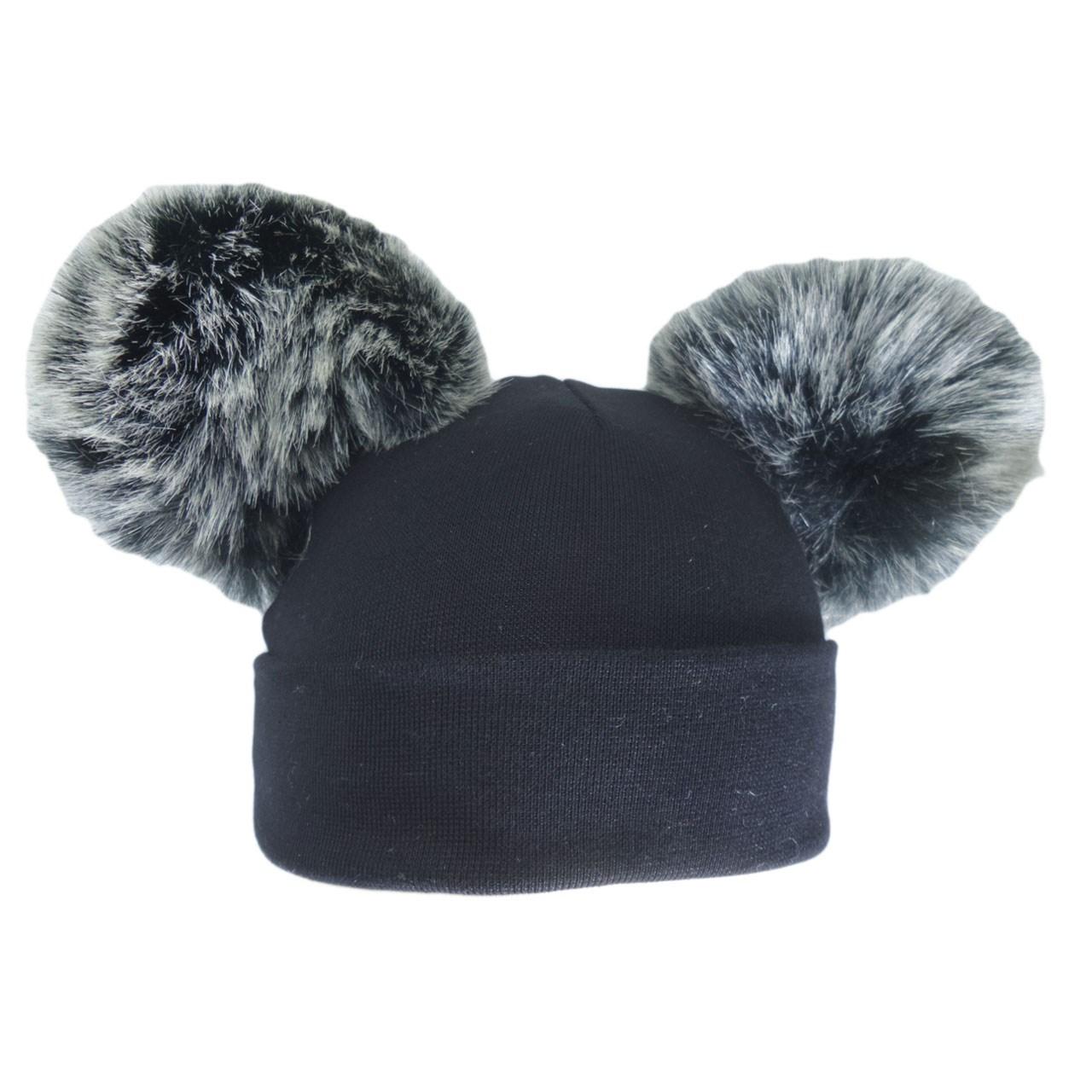 کلاه استرج پوم  پوم دارمدل مشکی پوم پوم زغالی