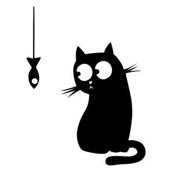 استیکر یخچال طرح گربه و ماهی 2