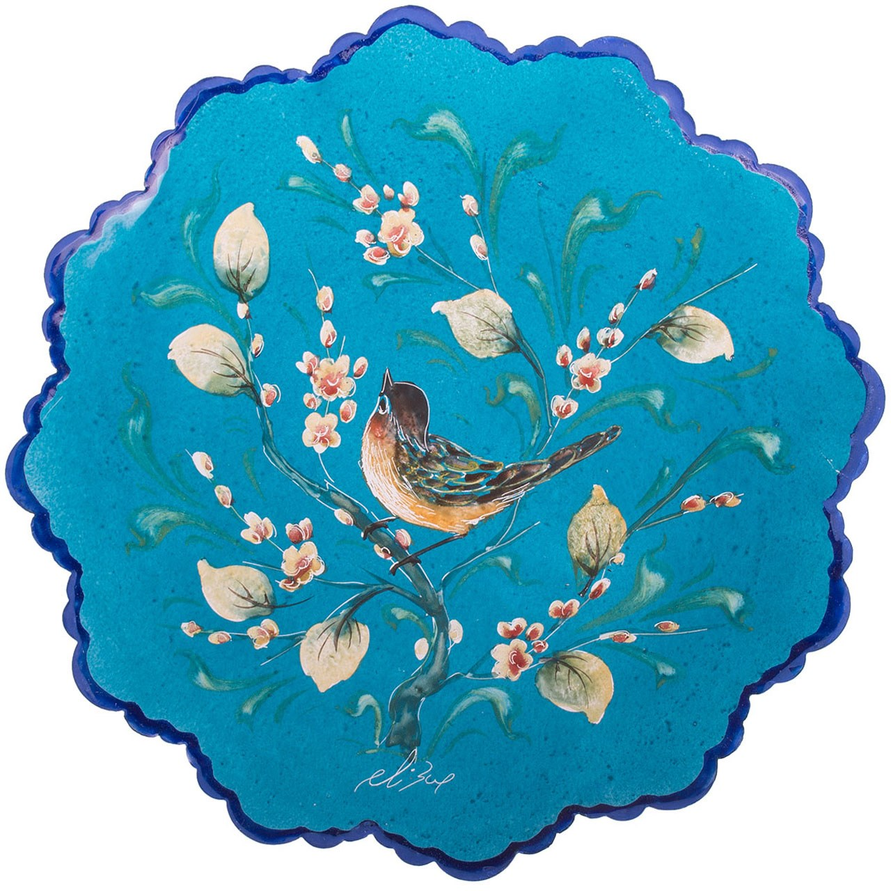 بشقاب مسی میناکاری شده اثر صالحی زاده طرح 3 قطر 20 سانتی متر