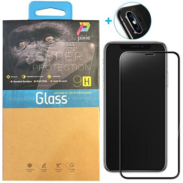 محافظ صفحه نمایش و لنز تمام چسب شیشه ای پیکسی مدل 5D  مناسب برای گوشی اپل آیفون X