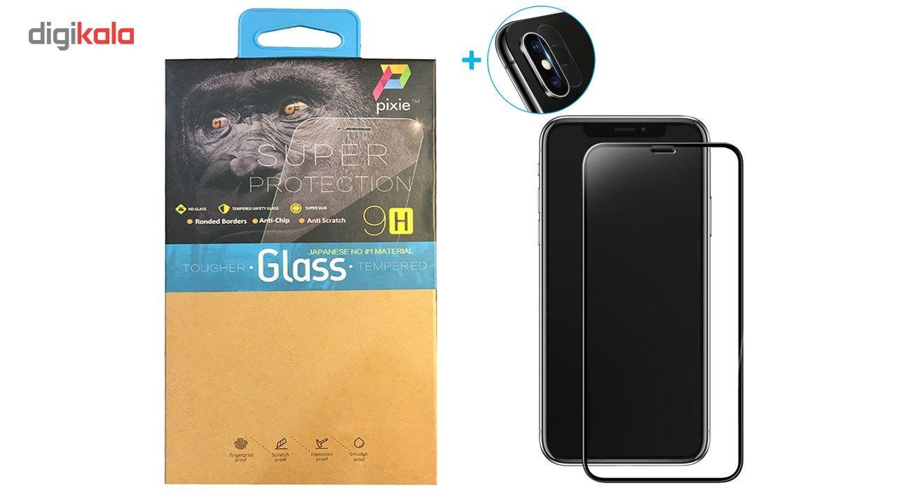 محافظ صفحه نمایش و لنز تمام چسب شیشه ای پیکسی مدل 5D  مناسب برای گوشی اپل آیفون X main 1 1