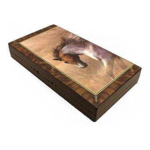صفحه شطرنج  و تخته نرد گالری نفیس طرح اسب طول 50 سانتیمتر