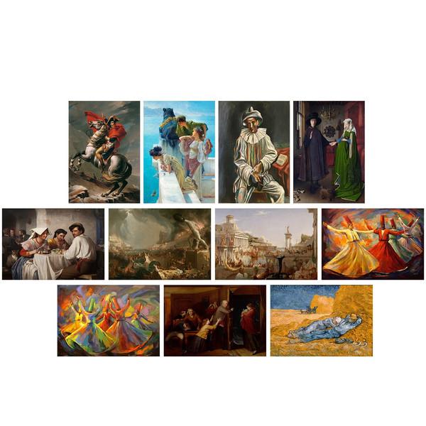 تابلو دیواری 11 تکه چاپ سی مدل معروف ترین نقاشی های جهان شماره 4