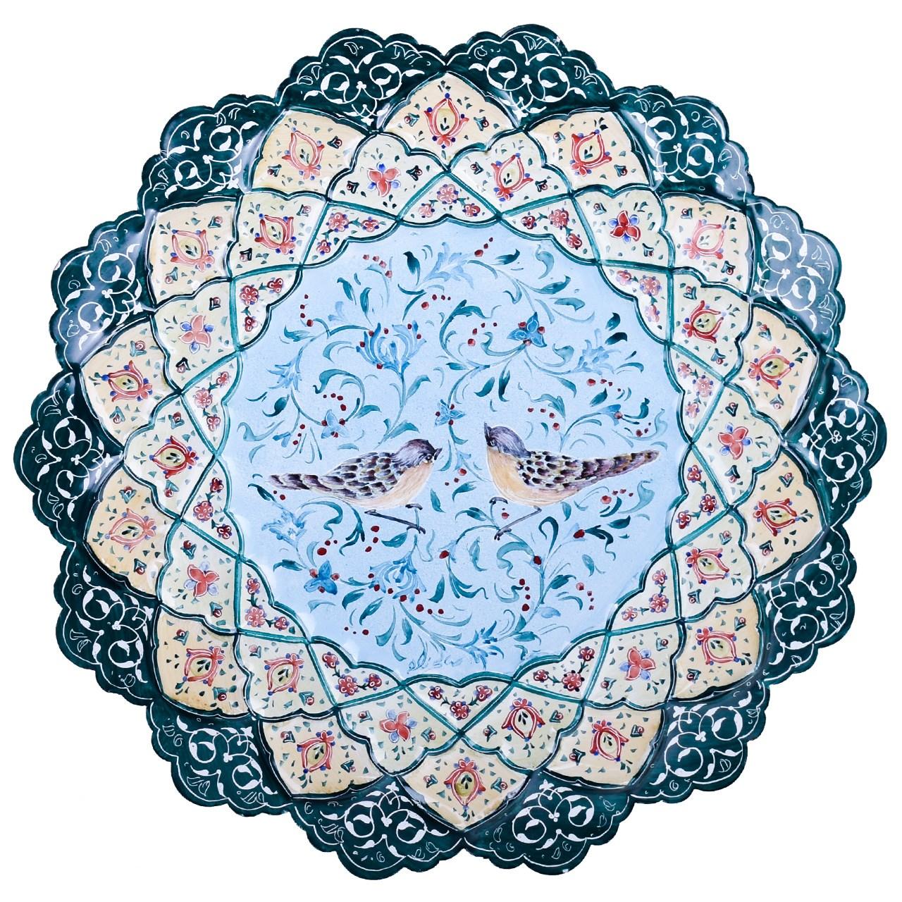 بشقاب مسی میناکاری اثر صالحی زاده طرح دریاچه مدل 00-30 قطر 30 سانتی متر