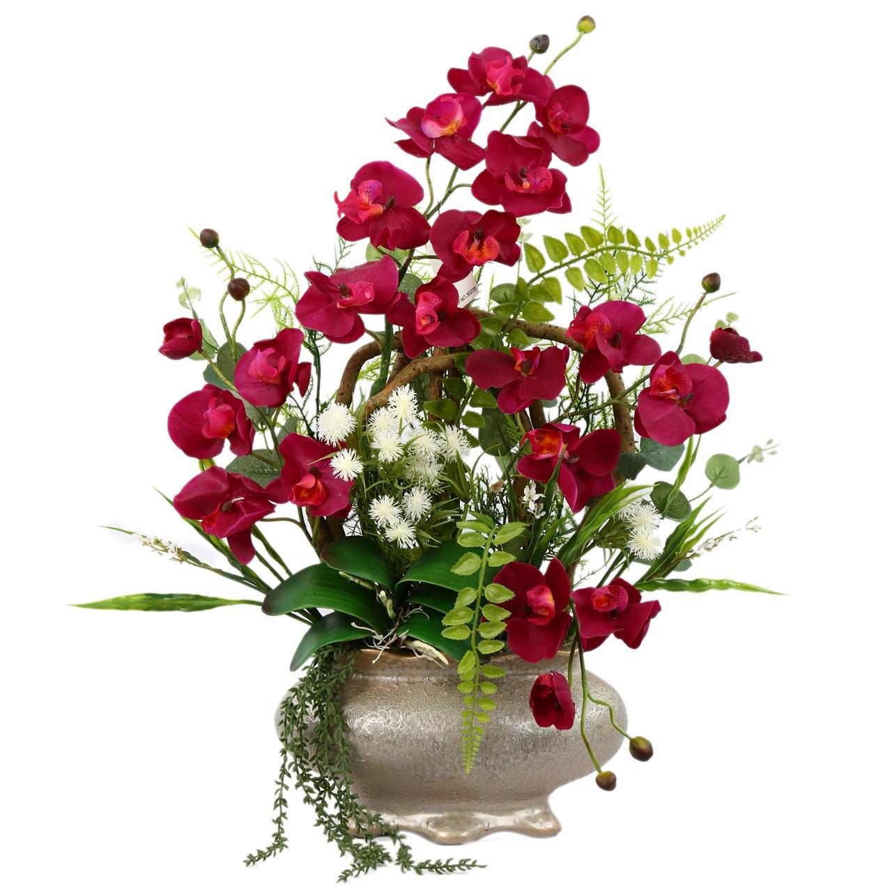 گلدان به همراه گل مصنوعی هومز طرح ارکیده زرشکی مدل 31774