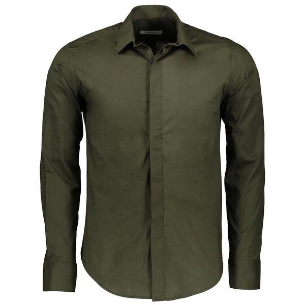 پیراهن آستین بلند سبز ارتشی مردانه پبونی مدل BG