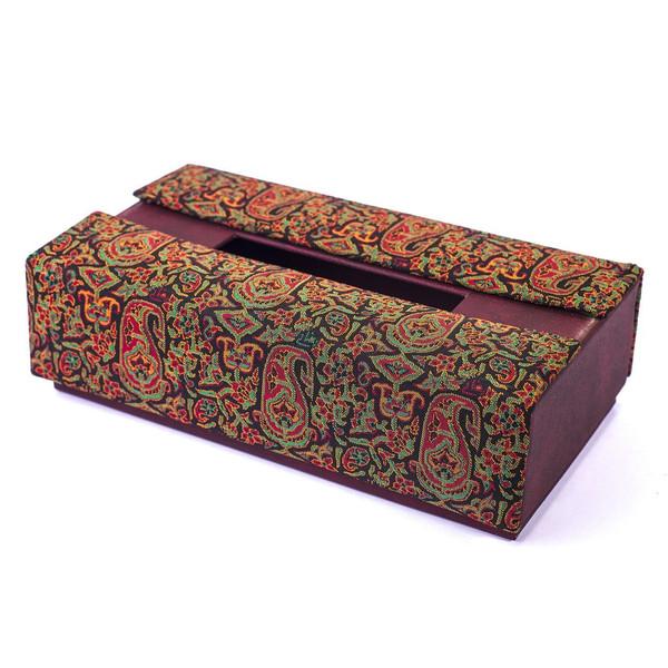 جعبه دستمال کاغذی ترمه سنا طرح یاس کد 115006