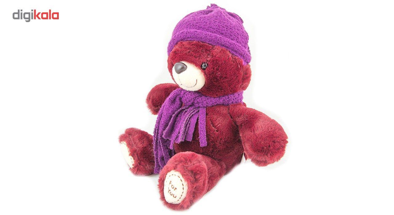 عروسک خرس بهارگالری مدل Crimson Winter Dress کد 103