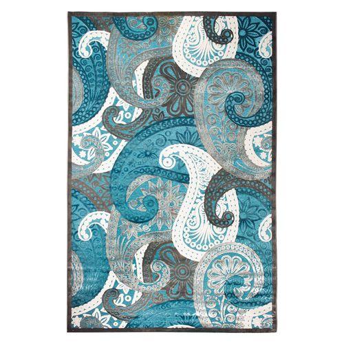 فرش ماشینی سرزمین فرش طرح شانل زمینه آبی کد FSM9