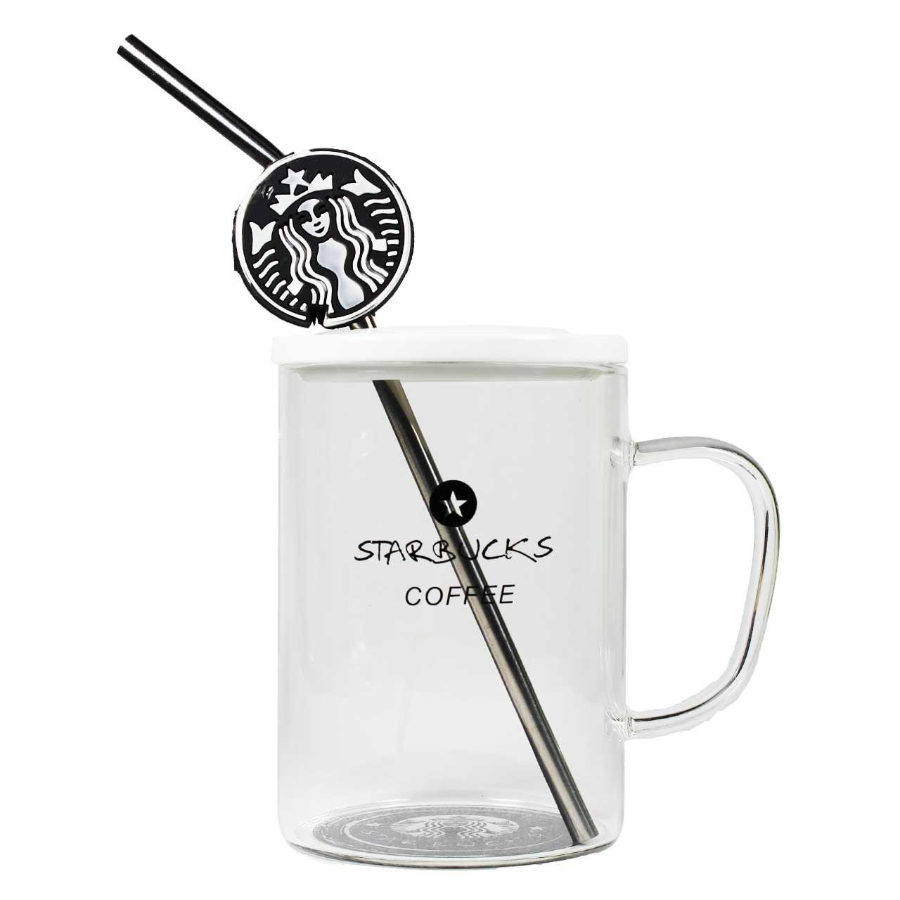 ماگ شیشه ای دردار مدل Starbucks طرح 3