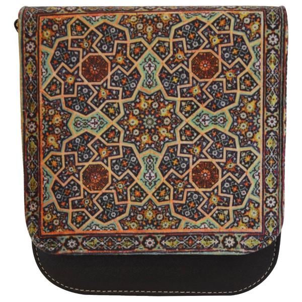 کیف دوشی چرم مصنوعی گالری وستای طرح فرش ایرانی