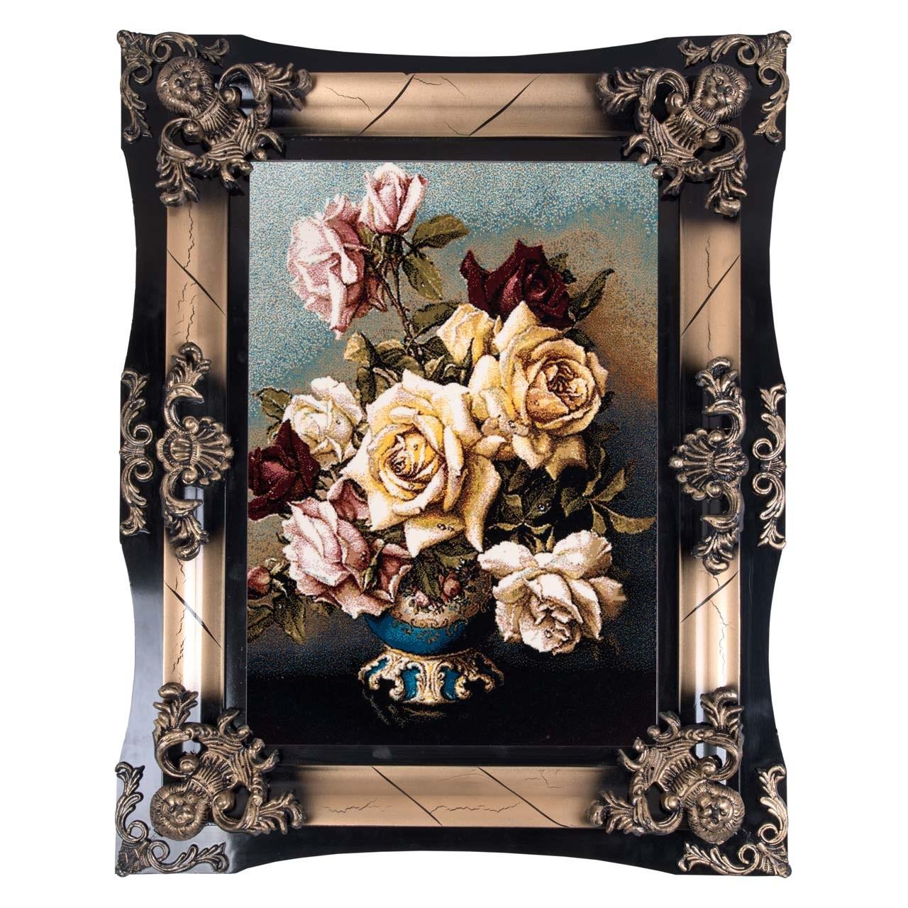 تابلو فرش ماشینی دنیای فرش طرح گل های رز کد 117