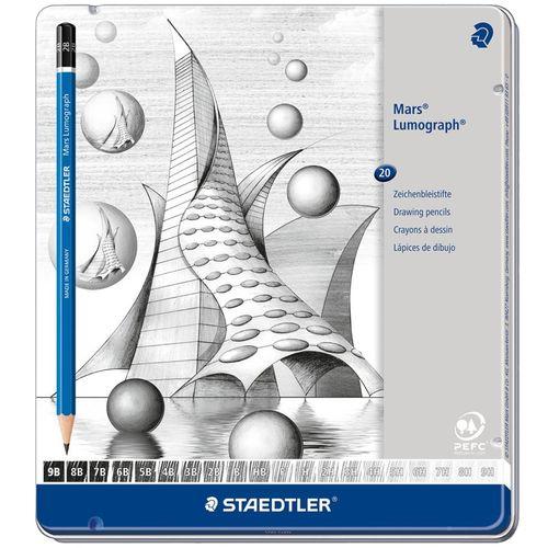 مداد طراحی استدلر مدل Mars Lumograph 100 G20 بسته 20 عددی