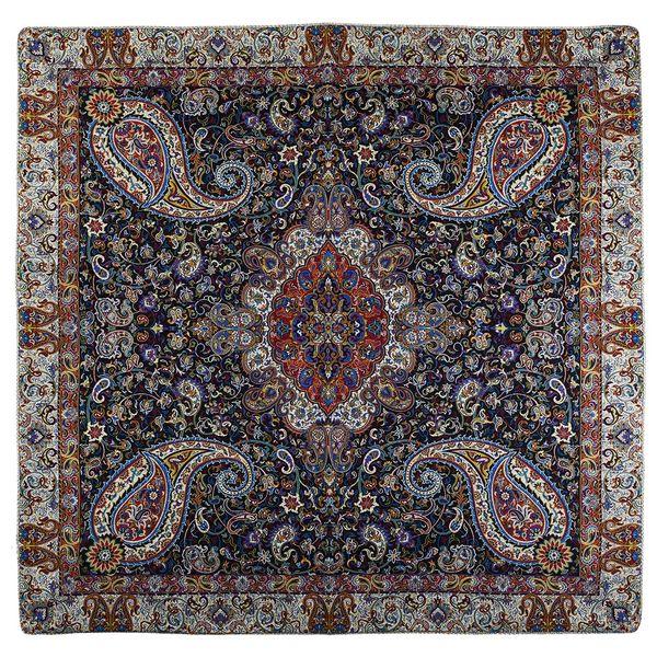 رومیزی ترمه حسینی طرح سالار مشکی سایز 100 × 100 سانتیمتر
