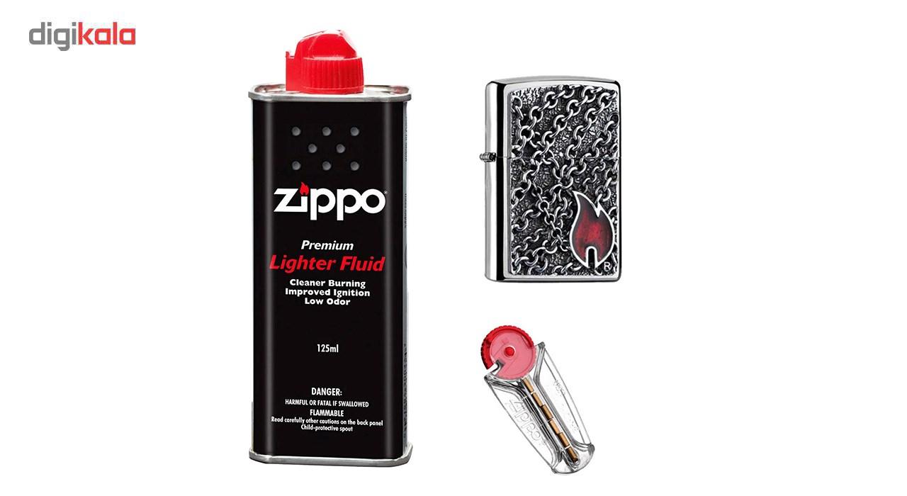 ست هدیه زیپو مدل  FLAME WITH CHAINS EMBLEM کد2005172