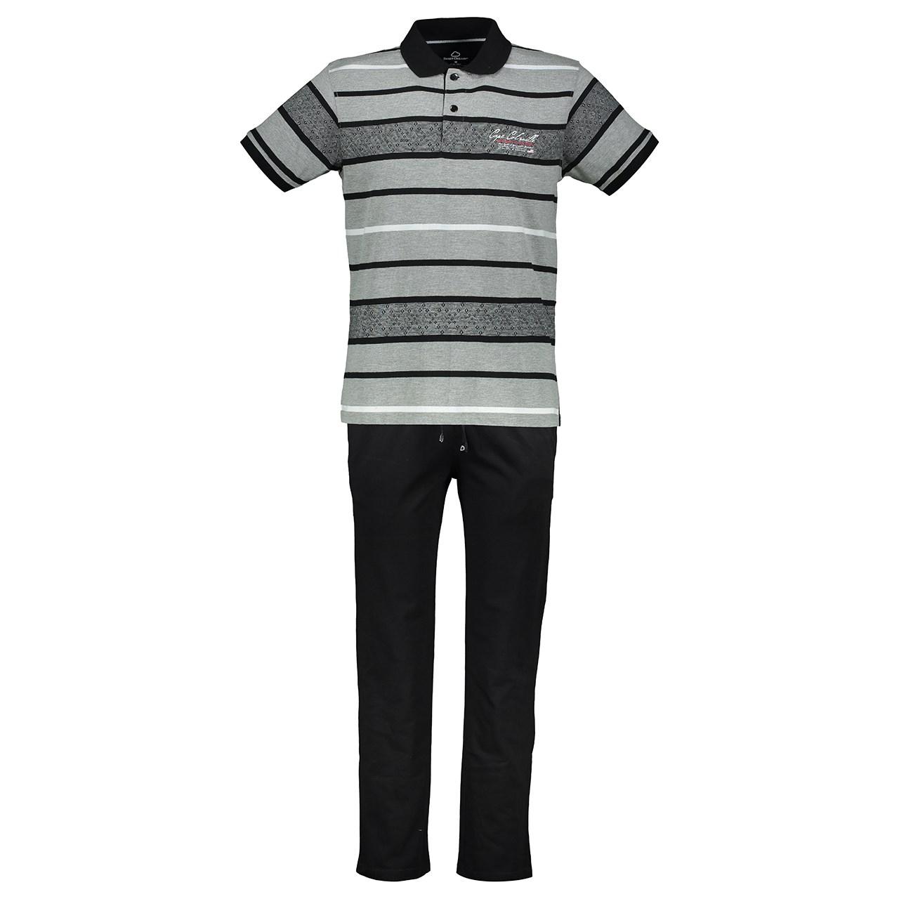 ست پلو شرت و شلوار مردانه پی جامه مدل 482