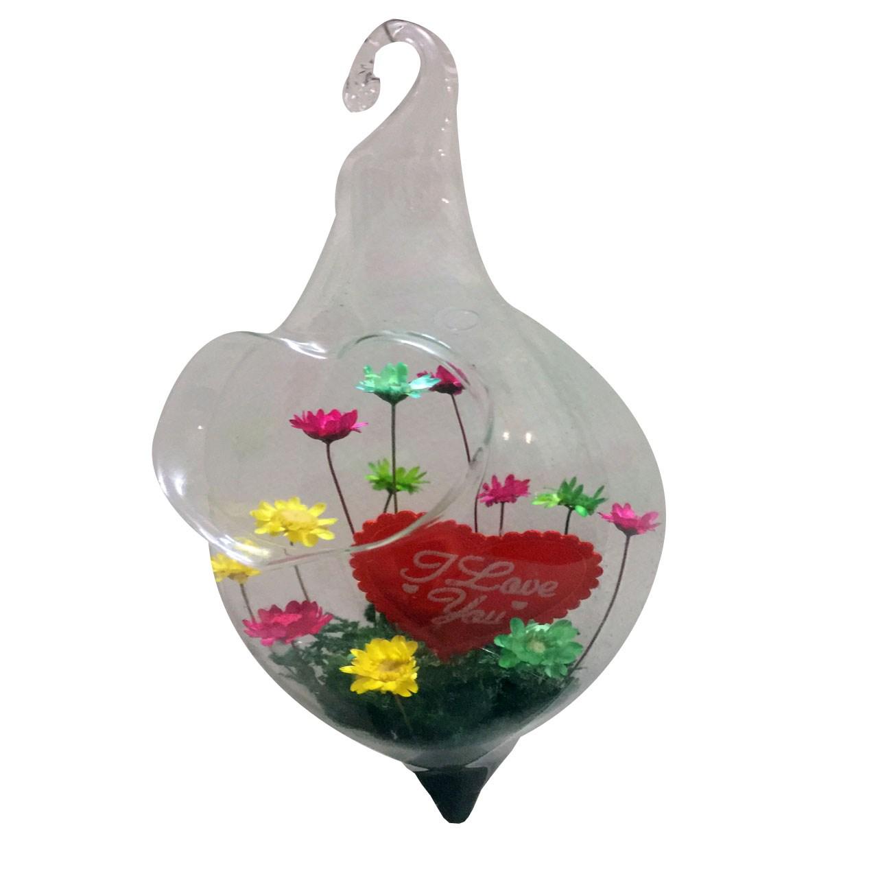 گل ماندگار به همران گلدان شیشه ای عرش مدل B-113