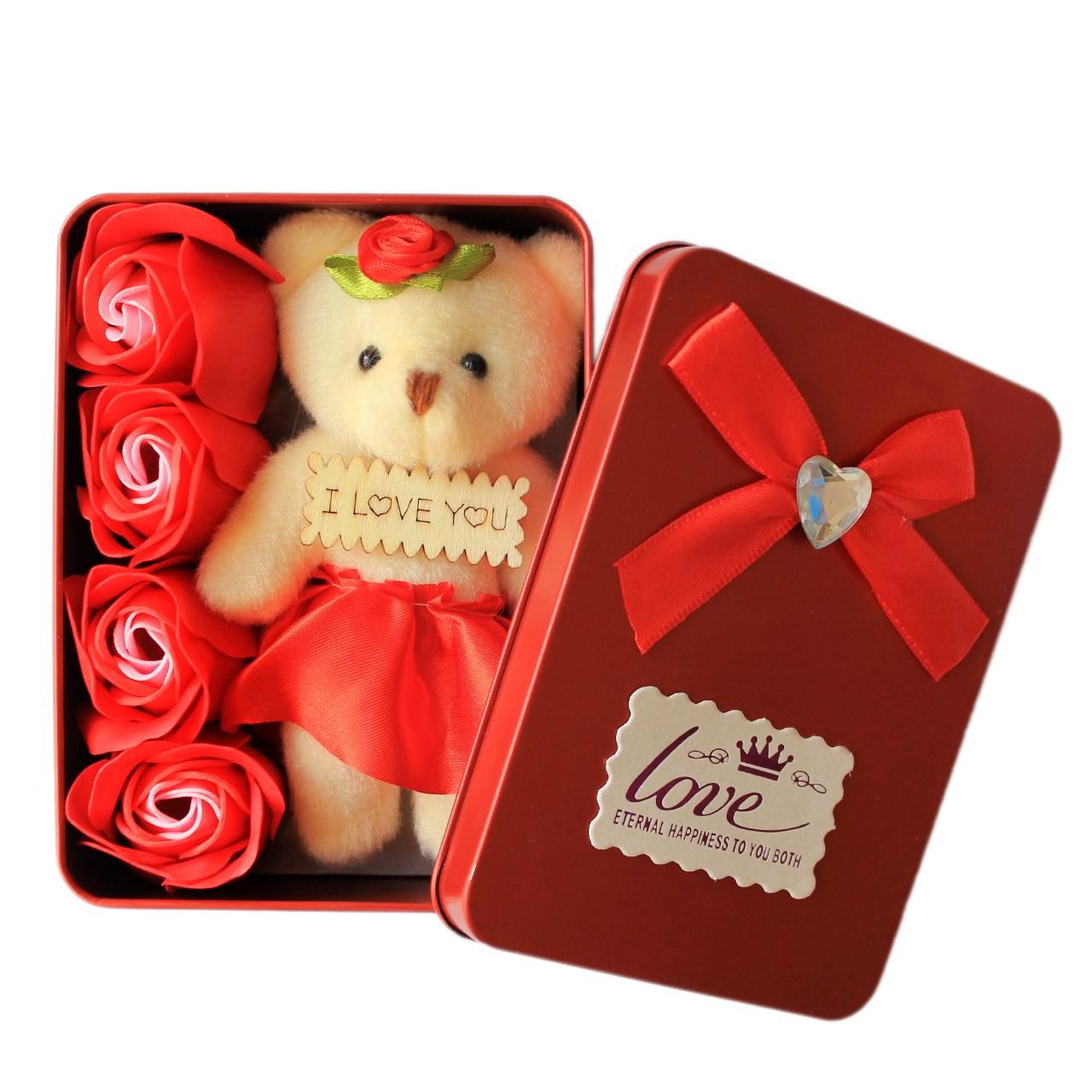 عروسک خرس مدل 02 به همراه جعبه گل