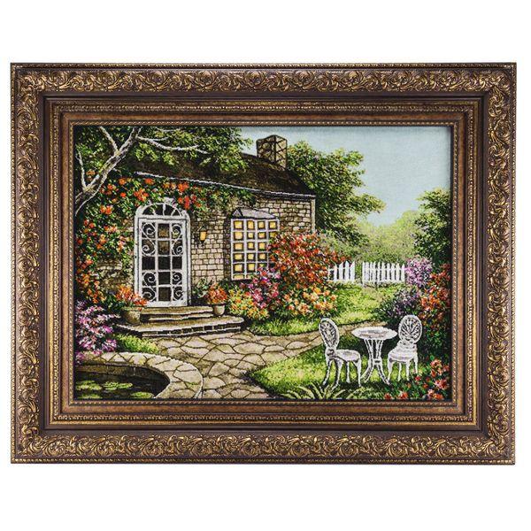 تابلو فرش گالری سی پرشیا طرح منظره کلبه جنگلی برجسته کد 901298