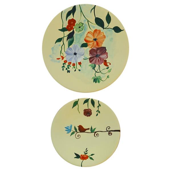 بشقاب دیوارکوب سفالی طرح گل و پرنده کد D79-A مجموعه 2 عددی