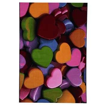 فرش ماشینی فرش خوب طرح سه بعدی قلب ها مدل 132