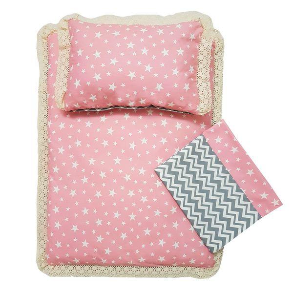 سرویس سه تکه خواب نوزادی چرمیش طرح آنیکا صورتی