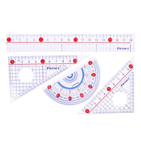 ست خط کش پییرسز مدل سالید کد 01 مجموعه 4عددی
