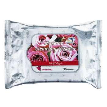 دستمال مرطوب پاک کننده آرایش پیوردرم مدل Rose بسته 30 عددی