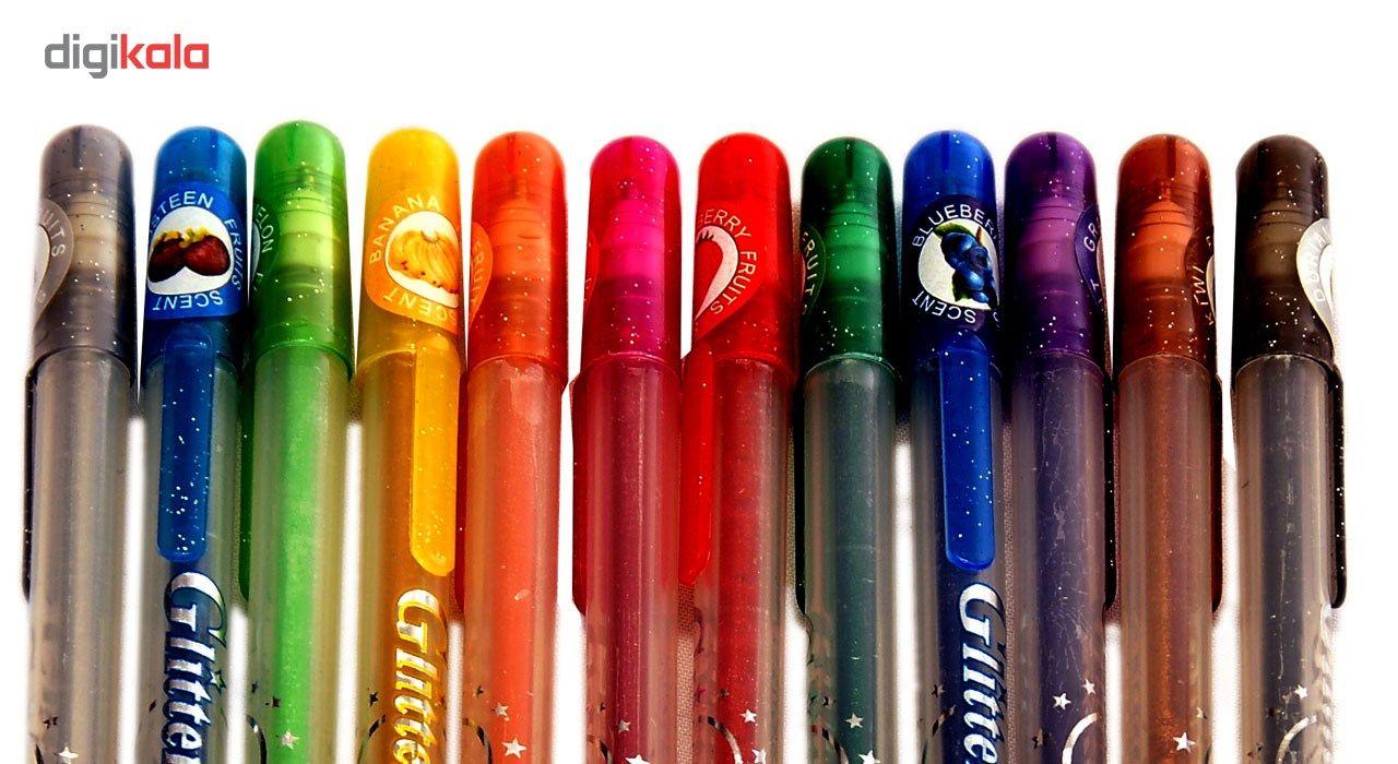 خودکار اکلیلی 12 رنگ مدل Glitter Pen main 1 3