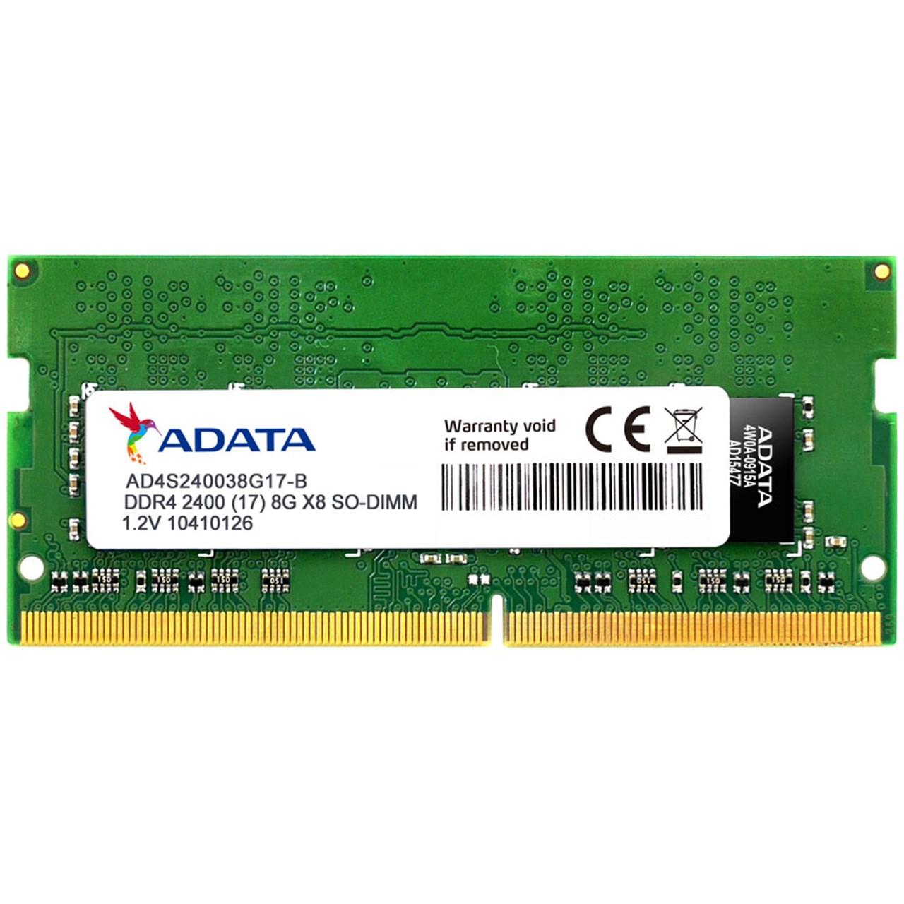 رم لپ تاپ ای دیتا مدل DDR4 2400MHz ظرفیت 8 گیگابایت | Adata DDR4 2400MHz SODIMM RAM - 8GB