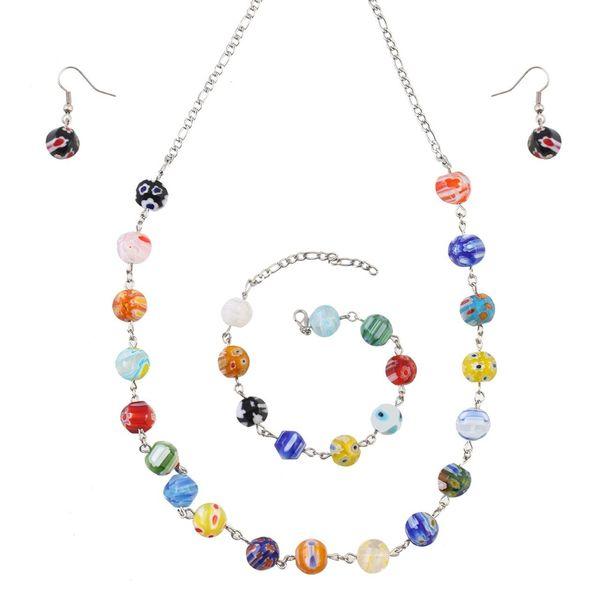نیم ست شیشه ای گالری سیلیس مدل 180042 طرح مهره گرد رنگارنگ