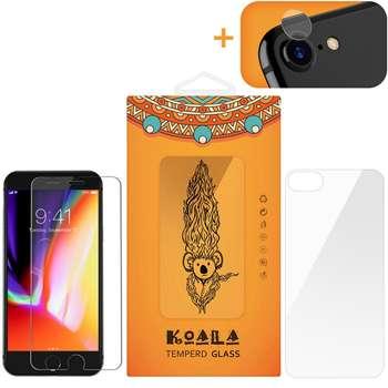 محافظ صفحه نمایش شیشه ای کوالا مدل Tempered مناسب برای گوشی موبایل اپل آیفون 8 به همراه محافظ پشت Tempered و محافظ لنز دوربین