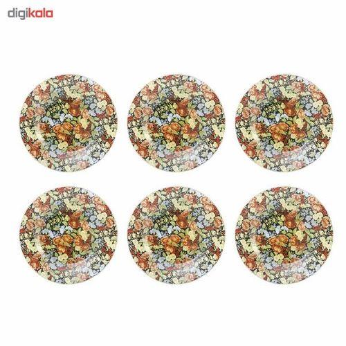 پیش دستی میوه خوری شیشه ای گل دار گالری سیلیس کد 180005 مجموعه شش عددی