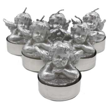 شمع وارمر سی بی ام طرح فرشته نقره ای بسته 6 عددی