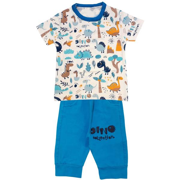 ست تی شرت و شلوارک پسرانه مدلدایناسور ها کد 3438 رنگ آبی