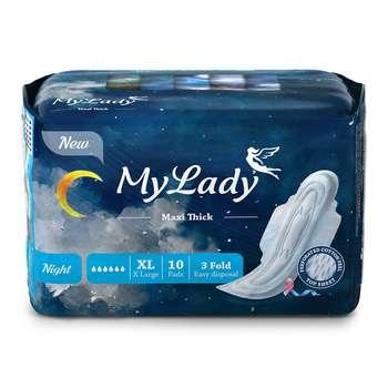 نوار بهداشتی بالدار مای لیدی مدل Maxi Night سایز خیلی بزرگ بسته 10 عددی