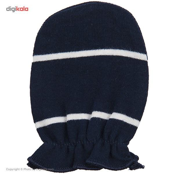 دستکش نوزادی نیلی مدل Navy Blue Stripes