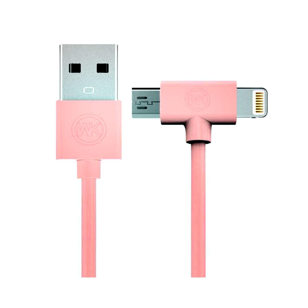کابل تبدیل USB به microUSB/لایتنینگ دابلیو کی مدل AXE WDC-008 به طول 1 متر