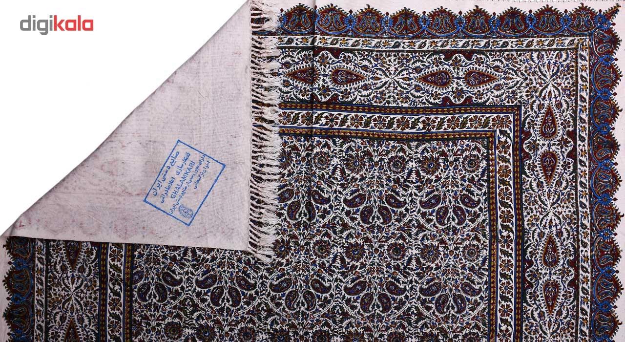 خرید                      سفره قلمکار ممتاز نرگس خانی طرح بته چهارتایی مدل 01-01 سایز 100 × 100 سانتی متر
