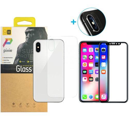 محافظ صفحه نمایش و پشت و لنز تمام چسب شیشه ای تمپرد پیکسی مدل 6D  مناسب برای گوشی اپل آیفون X
