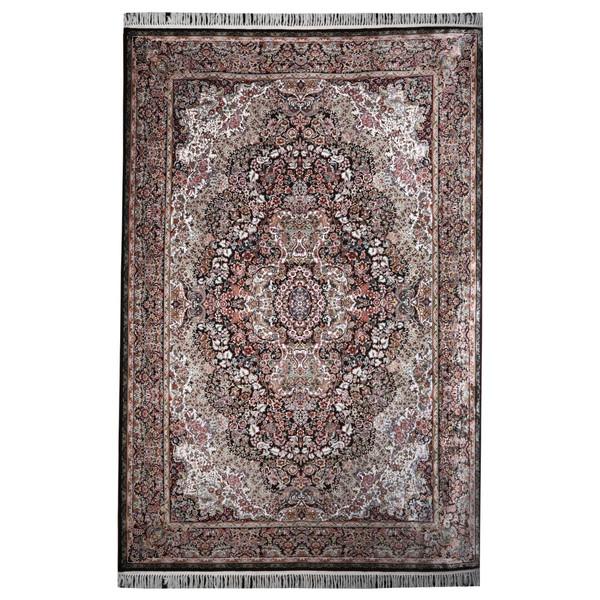 فرش ماشینی مهتاب پارسیان طرح گلستانه زمینه قهوه ای