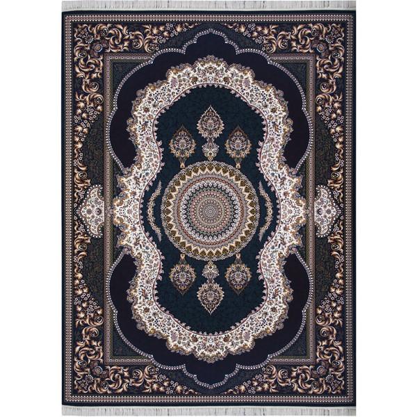 فرش ماشینی احتشامیه طرح کهربا زمینه سرمه ای