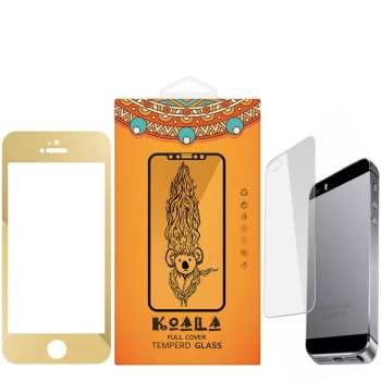محافظ صفحه نمایش شیشه ای Full Cover و پشت شیشه ای Tempered کوالا مناسب برای گوشی موبایل اپل آیفون 5/5S/SE