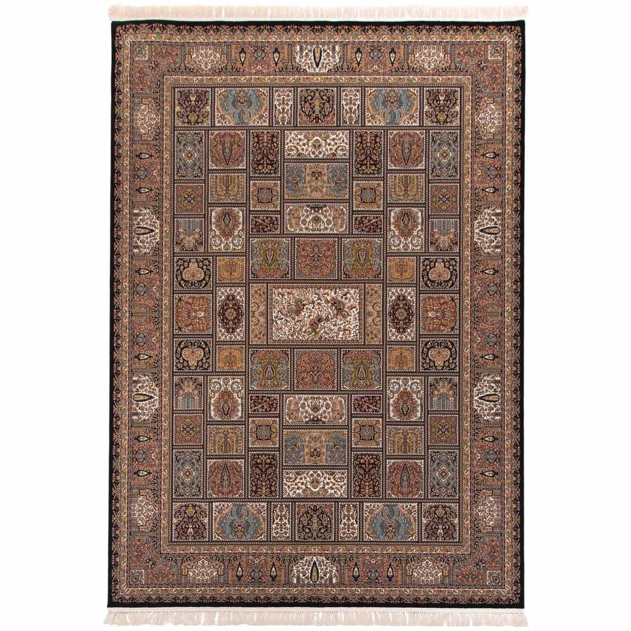 فرش ماشینی دنیای فرش طرح خشتی شکارگاه زمینه سورمه ای