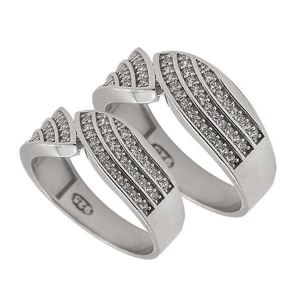 ست انگشتر نقره زنانه و مردانه مدل 01