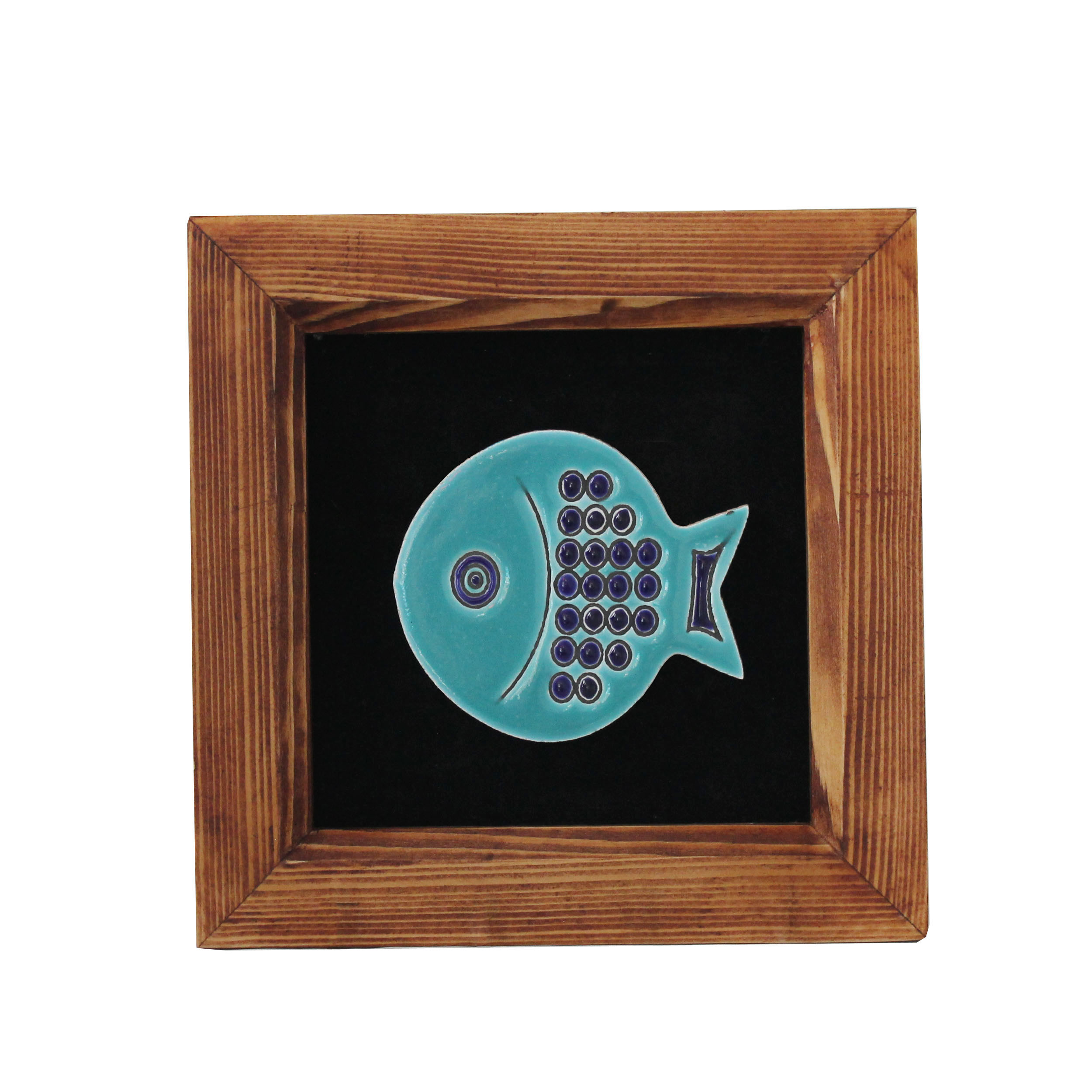 تابلو چوب و کاشی طرح ماهی